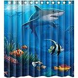 Custom Under Sea Fish Sharks Waterproof Bathroom Shower Curtain Polyester Fabric Shower Curtain Size 66 X 72