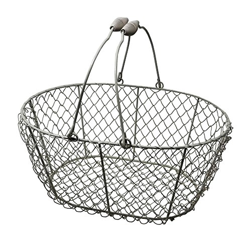 EggBaskets Wire Egg Basket, Chicken Egg Gathering Easter Basket, Jack, White