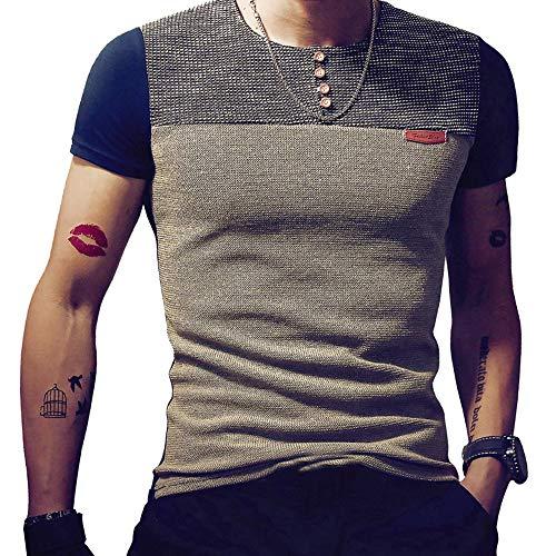 LEEFONA Men's Long Sleeve Slim Fit Contrast Color Stitching Stripe Crewneck T-Shirts ()