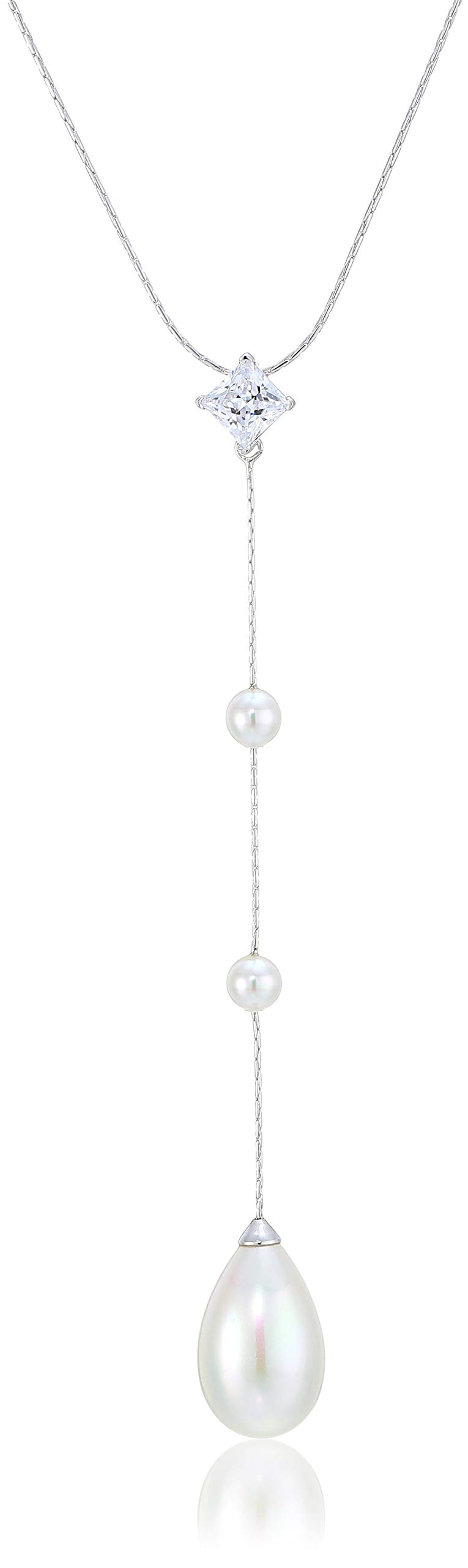 Majorica Rosa 5MM White Round and 12MM Pear Shaped Pearls Pendant with Cz in Sterling Silver Chain 15-17'' by Majorica