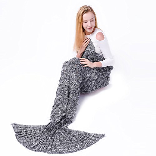 Kpblis Latest Handmade Soft Material Mermaid Tail Shape Blanket with Scales Pattern Mermaid Blanket for Adult Gray 71×35inch(180×90cm)