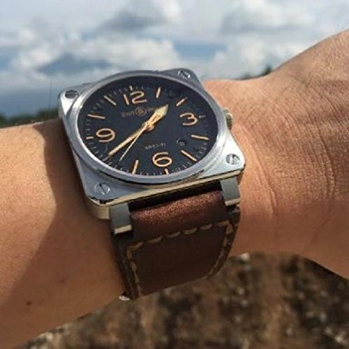 Custom Handmade Premium Calf Leather Watch Band for BR Bell and Ross Gunny Straps - Caitlin 2
