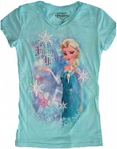 e5bb7de5e0b21 Disney Little Girls Aquamarine Frozen Elsa Character Print T-Shirt 7-12
