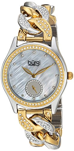 Burgi Women's Quartz Stainless Steel Casual Watch, Cuban Link Chain with Swarovski Crystals (Model BUR177) (Terrific Two Tone Gold and Silver)