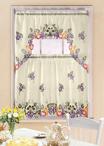 Kashi Home 3 Piece Kitchen Curtain Swag Set with Printed ...