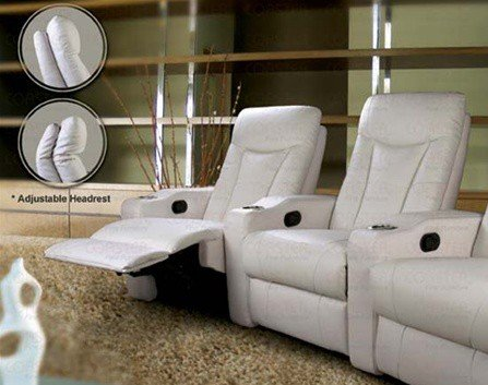 Pavillion Theater Seating - 2 White Leather Chairs by Coaster Furniture