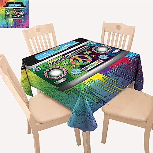 Birch Youth Dresser - UHOO2018 Polyester Tablecloth Style Hippie Van Dripp Pa Mid 60s Youth Revoluti Movement Theme Square/Rectangle Spillproof Tablecloth,50x 50inch
