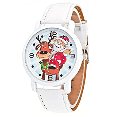 WILLTOO Christmas Elderly Pattern Leather Band Analog Quartz Watch White from WILLTOO