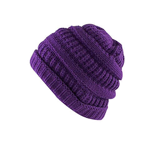 Super Z Outlet Knit Sew Outdoor Low Slouch Thermal Ski Beanie Headgear for Snowboard, Cycling, Sports, Cold Weather Protection (Purple) - Long Beanie Purple