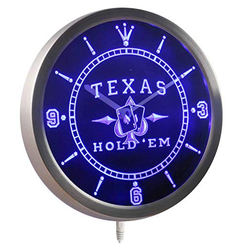 (ADVPRO nc0458-b Texas Hold'em Poker Casino Neon Sign LED Wall Clock)