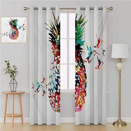 Pineapple grummet Curtain Best Home Fashion Wide Width ThermalGeometric Pineapple Bursting into Scattering Birds Flight Modern Abstract Printcurtains for Bedroom 120 by 108 InchMulticolor ()