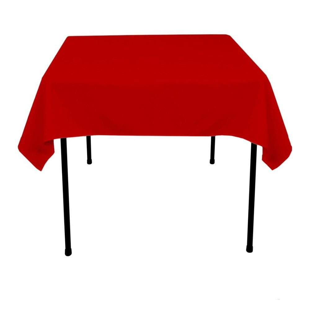 OWS 48' X 48' Inch Red Square Polyester Table Cloth Table Cover Wedding Party Event - 2 Pc