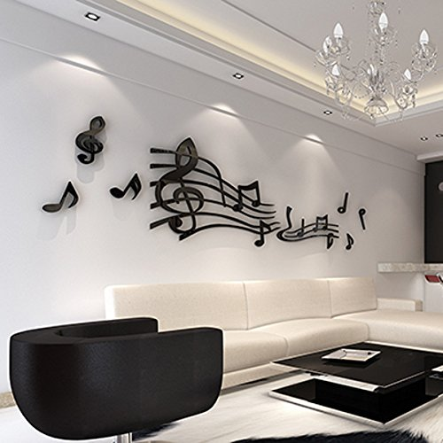 Alrens(TM)Sheet Music Notes Acrylic 3D Three-dimensional Wall Stickers Dance Room Classroom Wall Decals Bedroom Living Room Sofa Background Decor adesivo de parede Mural Art Home Decoration