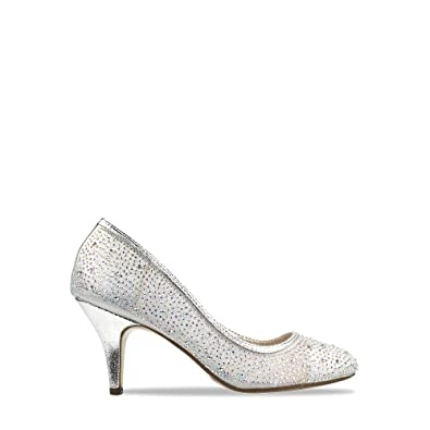 1e389049322a FOOTCANDY Womens Diamante Mid Heel Pumps Ladies Sparkly Court Shoes Evening  Size PD11918 (UK6