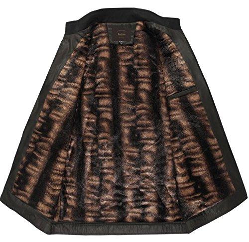 Zantt Mens Slim Quilted Full Zipper Stand Collar Fleece Lined Jacket Coat