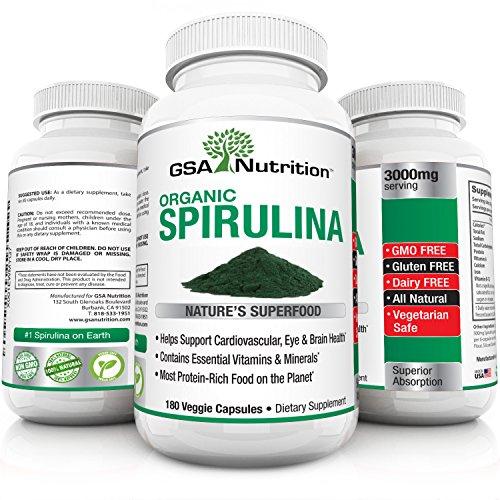 Spirulina Organic Super Food | 180 Veggie Capsules by GSA Nutrition | 3000mg/Serving | High Protein Source | Gluten Free | Non-GMO | Vegan Safe