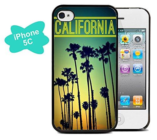 Coque silicone BUMPER souple IPHONE 5c - California californie motif 2 DESIGN case+ Film de protection OFFERT
