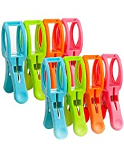 Lrophyte Clothes Pins Pegs Clothing Hanger Clips Beach Towel Clips, 8Pack Jumbo Size Clips for Quilt, Beach Chair, Pool Loungers (Colorful)