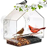 Window Bird Feeder by Nature Anywhere (Size:Large). HOLIDAY GIFT EDITION. Includes Free, Easy Removable Tray, 4 Heavy Duty Suction Cups, Drain Holes & Gorgeous Packaging.