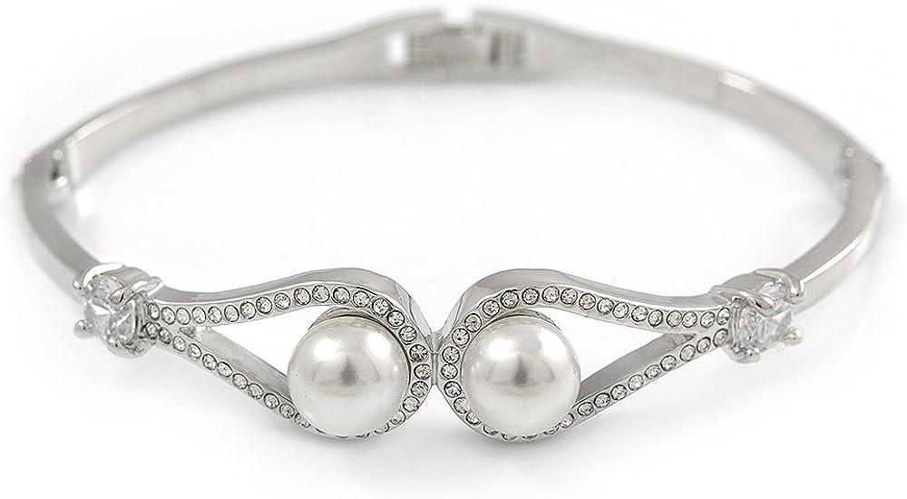 Avalaya - Pulsera de perlas de cristal transparente con doble bucle de metal chapado en rodio, 17 cm de largo (para manos más pequeñas)