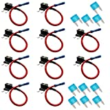Etopars™ 10 X Car Vehicle 12V 24V ATM APM Add A Circuit Fuse Tap Piggy Back Mini Fuse Style Blade Holder 15A