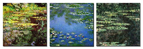 Wieco Art - 3 Piece Canvas Prints Wall Art of Claude Monet Famous Flowers Oil Paintings Reproduction for Kitchen Home Decorations Water Lilies Pond Modern Gallery Wrapped Giclee Floral Picture Artwork (Collection Lily Pond)
