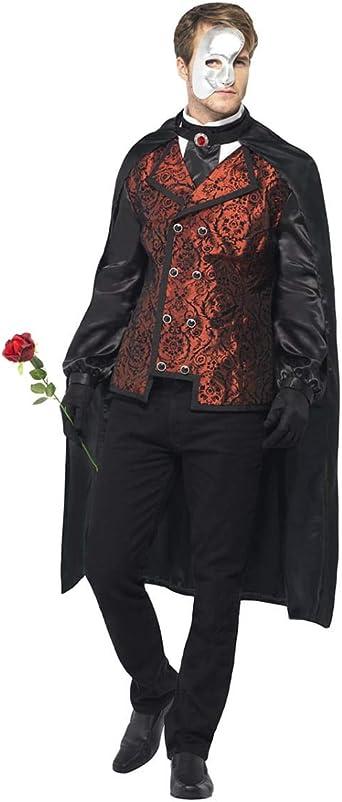 Amazon Com Horror Shop Men S Phantom Of The Opera Costume L Black Red White Clothing