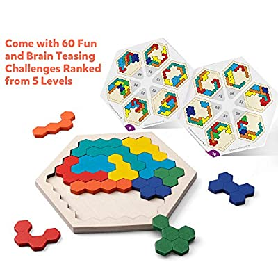 Coogam Wooden Hexagon Puzzle for Kid Adults - Shape Pattern Block Tangram Brain Teaser Toy Geometry Logic IQ Game STEM Montessori Educational Gift for All Ages Challenge: Toys & Games