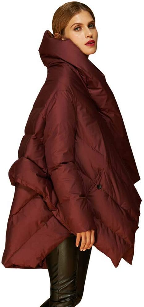 ELEAMO Womens Thickened Long Down Jacket Hooded Coat Unique Down Jackets Duck Down Coats Winter Outdoor Fashion Standing Collar Commuting Clothing Loose Woman Puffer Jacket,Red