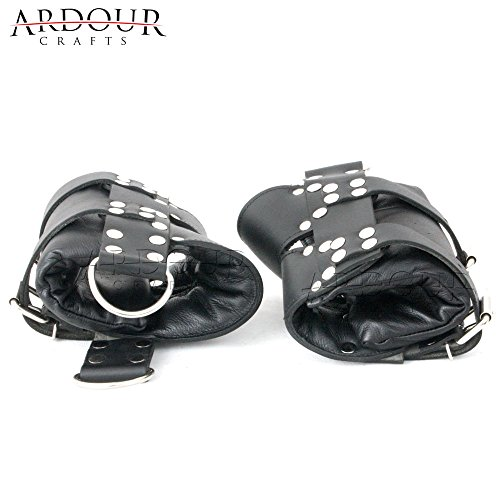 100% Real Leather Ankle Suspension Bondage Cuffs Strong Leather Padded Boot Cuffs