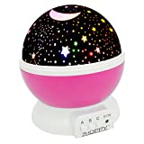 Night Lights for Girls, ZHOPPY Star and Moon Starlight Projector Bedside Lamp for Bed Room Kids Bedroom Decorations - Birthday Gifts for Girls, Pink