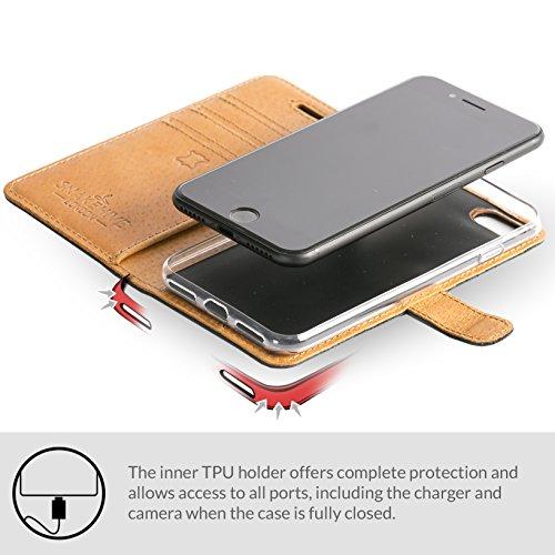 Funda iPhone 7 Plus Funda con una cartera incorporada en piel nobuk con una ranura para las tarjetas de créditos o billetes (Color Negro) Ciruela