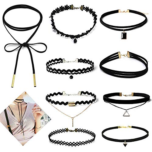 Apelila 10 Pieces Choker Charm Necklace Velvet Classic Vintage Lace Collar for Girls Women Black (#1) ()