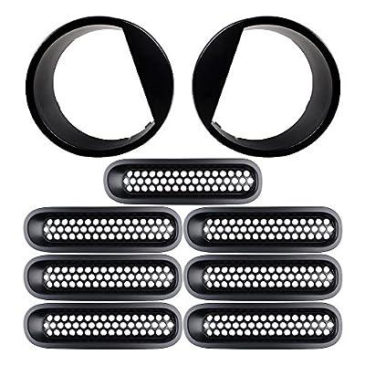 Combo Matte Black Front Grill Mesh Grille Insert Kit & Bezels Front Light Headlight Angry Eyelids Style Trim Cover For Jeep Wrangler Jk 2007-2017 9PCS