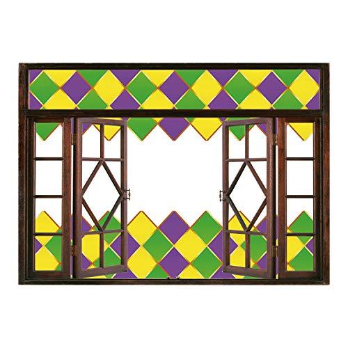Autumn Colored Grasses - SCOCICI Removable 3D Windows Frame Wall Mural Stickers/Mardi Gras,Carnival Colored Grid Design Diamond Line Pattern Retro Framework Decorative,Purple Lime Green Yellow/Wall Sticker Mural