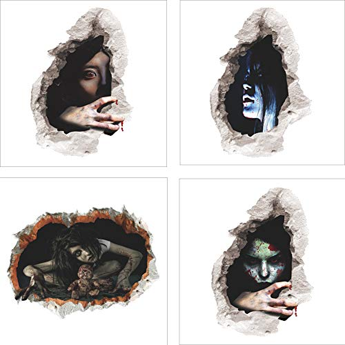Cuteboom Halloween Wall Decals Wall Stickers Horror Horrible Peel and Stick Decal Wall Sticker Murals Wallpaper Poster(4 Pcs) (Ghost)