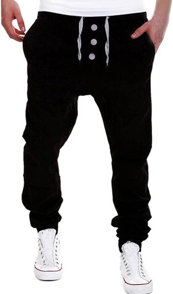 iYBUIA Cotton Mens Trousers Solid Sweatpants Harem Pants Slacks Casual Jogger Dance Sportwear Baggy