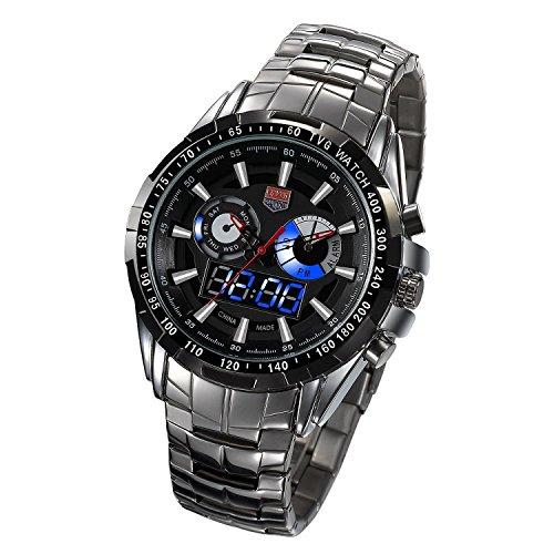Tvg 2014 Men Sports Quartz Watch Mens Blue Binary Led Pointer Watches Black