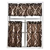 NAPEARL Set of 3 Pieces Rod Pocket Kitchen Curtains Valance and Tiers (Brown)