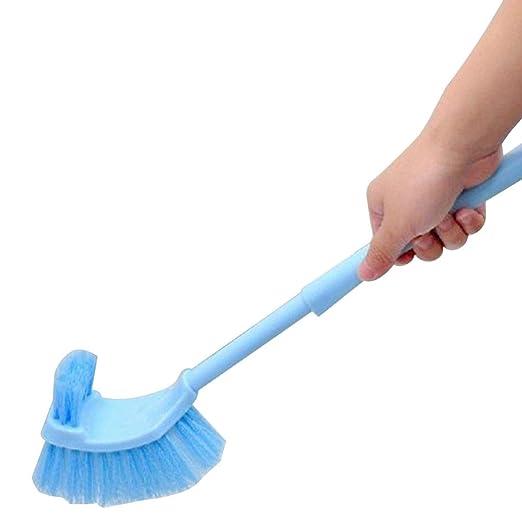 Lavabo port/átil cepillo de pl/ástico mango largo ba?o de inodoro de doble cara Scrub cepillo de limpieza azul