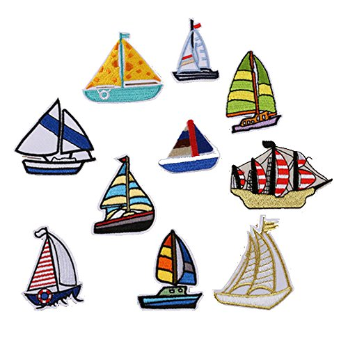 Iron On Patches for Kids Assorted Iron-on Fabric Appliques Embroidered Set Sailing Boats DIY Sewing Decorations Clothing Accessories for Boys