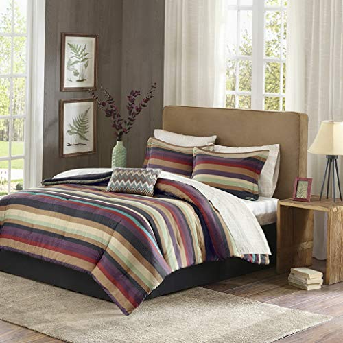 Kaputar Beautiful Modern Warm Cozy Purple RED Taupe Green Stripe Comforter Set Sheets | Model CMFRTRSTS - 3452 | King