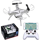 Drone with 720P HD Camera Record Live Video Drones Contixo for Kids & Adults. RC Quadcopter Conect to Phone by WiFi & Stream Real-time Transmission 4Ghz Video & Picture 100ft Long Range. White