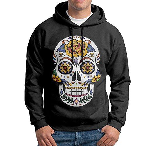 LOYRA Men's Rose Sugar Skull Hooded Sweatshirt Size XXL Black