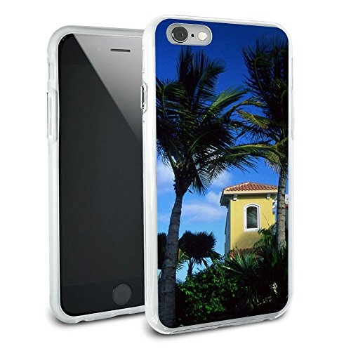 Tropical Island Resort – Palmen Hybrid Rubber Schutz Hülle Slim Case Cover Etui Bumper für Apple iPhone 6