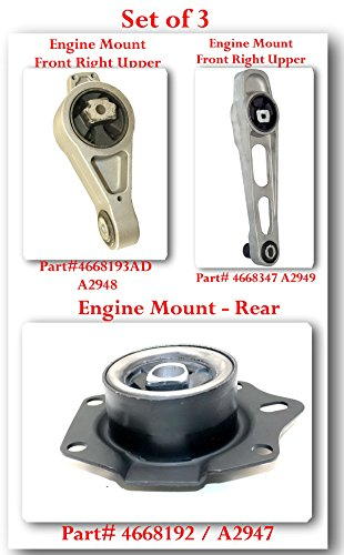 (SET OF 3) A2947 / A2948 / A2949 ENGINE MOUNT FRONT RIGHT LOWER / UPPER & REAR FITS: CHRYSLER NEON 2000-2002 CHRYSLER PT CRUISER 2001-2010 DODGE NEON 2000-2005 PLYMOUTH NEON 2000-2001