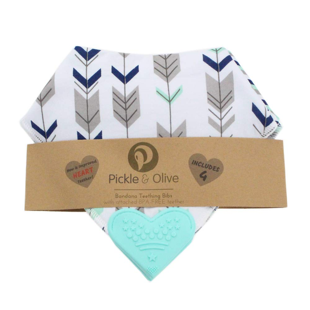 Pickle /& Olive Baby//Toddler Bandana Teething Bibs with Attached BPA-Free Silicone Teether Set of 4 Nautical Water-Resistant Best Unique Baby Shower Gift for New Moms Adjustable Snaps