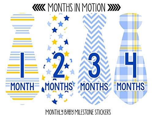 Months in Motion 745 Monthly Baby Stickers Necktie Tie Baby Boy Months 1-12 by Months In Motion (Image #1)
