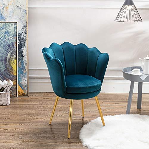 Modern Upholstered Vanity Chair Tufted, Plush Velvet Armchair Accent Chair Single Sofa Gold Plating Legs for Living Room/Bedroom(Teal)