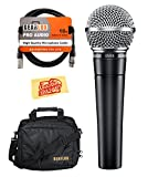 Shure SM58-LC Cardioid Dynamic Vocal Microphone Bundle with Mic Bag, XLR Cable, and Austin Bazaar Polishing Cloth